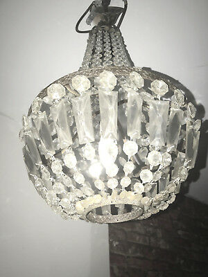 Antique French Basket Style   Crystals Chandelier
