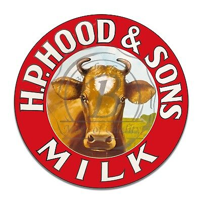 H. P. Hood and Sons Milk Cow Design Reproduction Circle Aluminum Sign