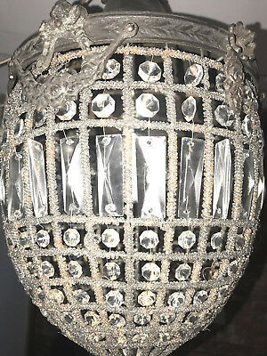 Antique Pair French Basket Style Crystals Chandeliers Lamps