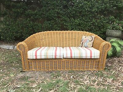 Vintage Cane Bamboo 2+ Seater Sofa Lounge Daybed-Chair~Outdoors