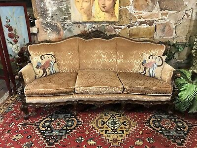 Vintage French Louis Wingback Chesterfield 3 Seat Lounge Chair~Sofa-Flock Velvet