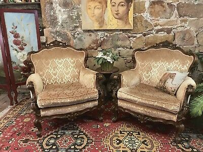 Pair Vintage French Louis Wingback Chesterfield Lounge ArmChair~Chair~FLO