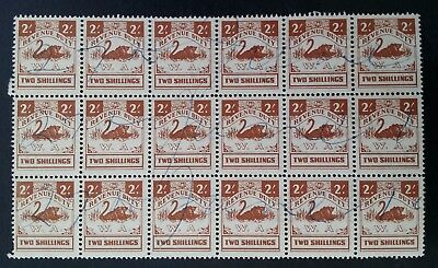 Scarce 1951- Western Australia Blk 18X 2/- Brown Swan Revenue Duty stamps Used