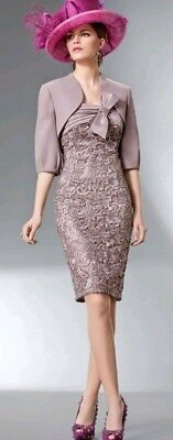 Bnwt DONNA CABOTINE Mink Lace Mother of the Bride Dress/Bolero size 14. RRP £525