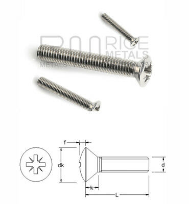 Pozi Raised Machine Screws Countersunk A2 Stainless Steel Din 966 M2 up to M6