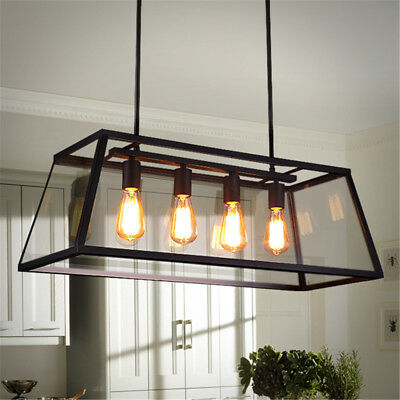 r tro vintage industriel plafonnier 4 lampe luminaire. Black Bedroom Furniture Sets. Home Design Ideas