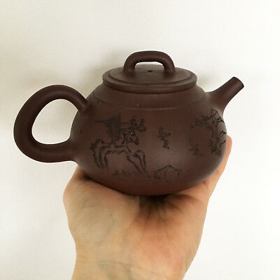 YiXing ZiSha Teapot Chinese Signed Pottery Original Vintage Collectible Brown