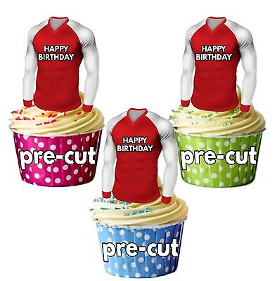 PRECUT Birthday Football Shirts Edible Cake Toppers Decorations Arsenal Colours