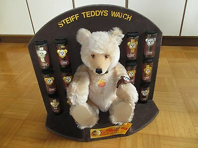 STEIFF WATCH TEDDY DISPLAY Bär (43 cm) + 13 Uhren Limited Replica 1991 (8530/43)