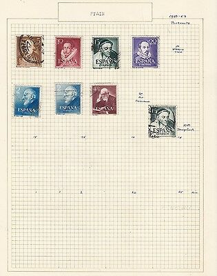 SPAIN 1950-53. Collection  on Old Album Page  items removed for Postage