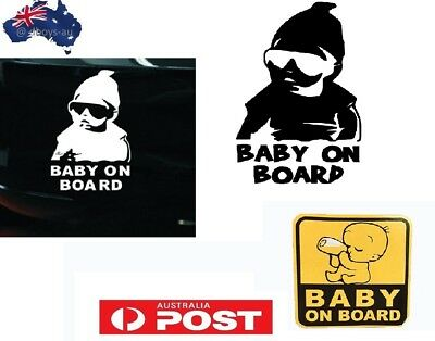 Baby on board sticker baby with sunglasses milk bottle Baby In car
