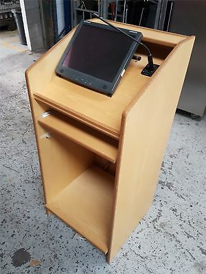 Wooden Lectern with Touchscreen Monitor and Microphone
