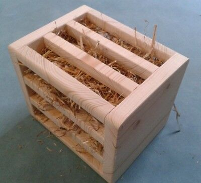 Kiln Pine Hay Rack Holder For Rabbits & Guinea Pigs Stuffed With Meadow Hay