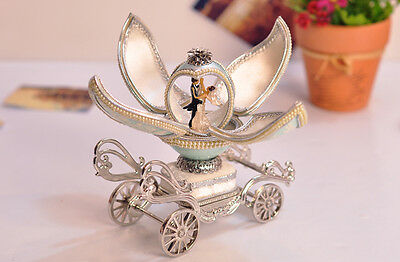 "* Creative Light Blue Carriage Egg Carving ""Castle in the sky"" Music Box Gift"