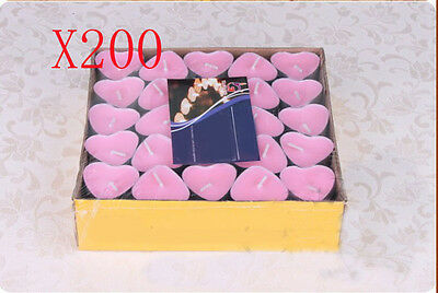 200X Wedding Party Romantic Heart-Shaped Pink Candles Wholesale Lots 200 PCS