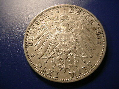 Wurtemburg - Silver 1912-F 3-Mark In Very Nice Condition