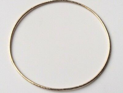 9ct Plated on 925 Sterling Silver Handmade Hammered Bangle - 5.5cm 6cm 6.5cm 7cm