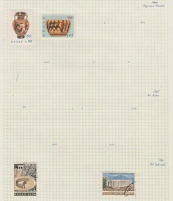 GREECE Collection 1964-65 Art, Olympic, etc Old Book Pages USED as per scan #