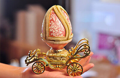 "* Creative Rose Red Carriage Egg Carving ""Endless Love"" Music Box Birthday Gift"