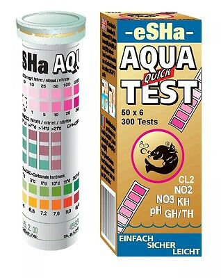 Esha Aqua Quick Test 50 Test Strips NO2 NO3 PH KH GH/TH Aquarium Test Kit