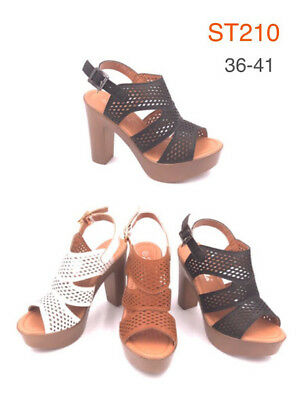 Wholesale Job Lot New Ladies Women Chunky Thick Heeled Sandals 1 Box of 12 Pairs
