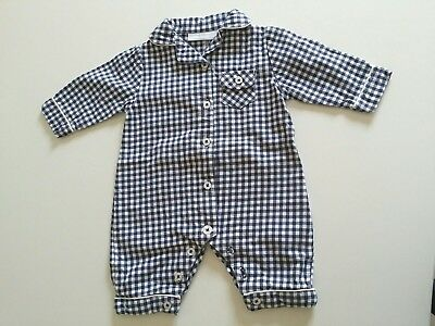 The Little White Company Blue Check Cotton Baby Boy Sleepsuit 0-3 months