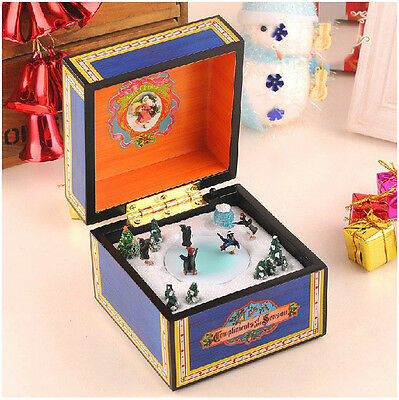 "* Creative Penguin Wood Blue ""Joy to the World"" Rotation Music Box Birthday Gift"