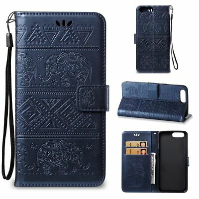 Dark Blue Embossed Elephant PU Leather Wallet Case Flip Cover Card for Phones