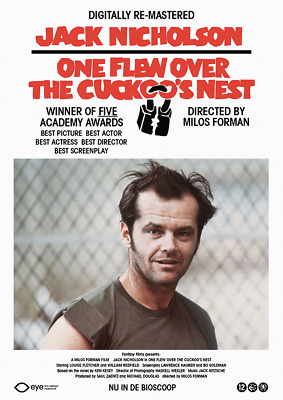 One Flew Over The Cuckoo's Nest Vintage Jack Nicholson Movie   Poster