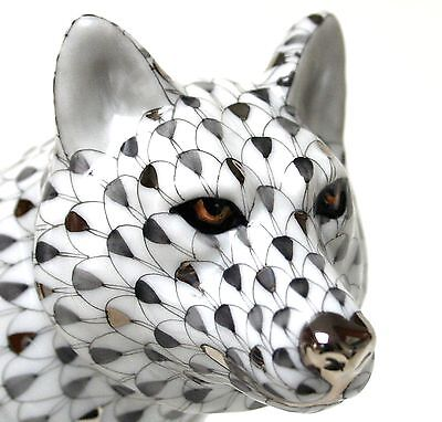 Herend *2013* Large Platinum Fishnet Wolf! Limited Edition! Only 150 Worldwide!