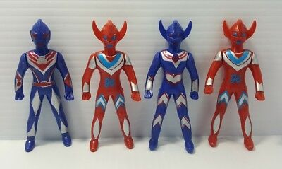Lot of 4 Bootleg Vintage Antique Retro Ultraman Action Figure Toy Rare Set