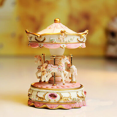 * Gifts Pink 18 Sounds Castle in the Sky Merry-Go-Round Wind-Up Music Box