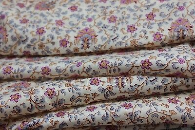 Lovely French Antique Indienne Print Silk Dress Fabric Yardage c1910~7+ yards