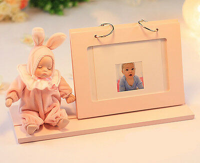 "* Pink Doll Frame Wood+Ceramic ""Lullaby"" Rotating Music Box Birthday Gift"