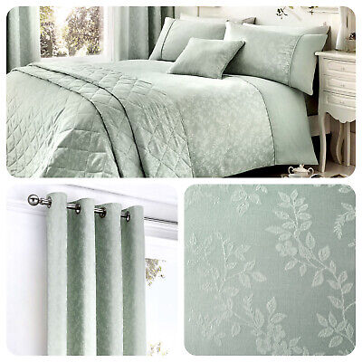 Serene EBONY Duck Egg Blue Floral Duvet Set, Cushions & Curtains for Bedrooms