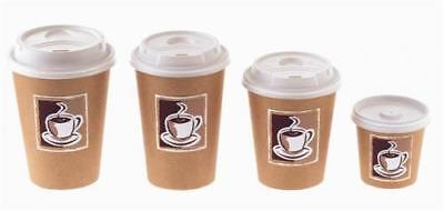 7/8/10/12/16oz Single Wall Disposable Paper Coffee Cups,Lids , UK SELLER