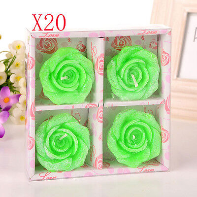 20X Green Wedding Party Romantic Rose-Shaped Red Candles Wholesale Lots 20 Set