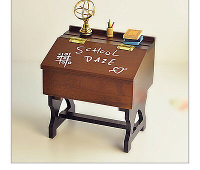 "* New Creative Desk Wood ""Wedding March"" Rotating Music Box Birthday Gift"
