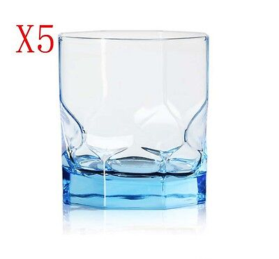 New 5X Capacity 300ML Height 90MM Blue Transparent Red Wine Glass/Glassware %