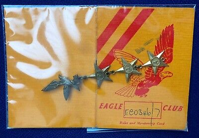EAGLE COMIC MEMBERSHIP CARD AND BADGE WITH RARE 4TH YEAR STAR 1950s