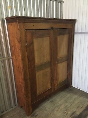 Rare Primitive Jelly Cabinet Country Pine Cupboard Utility Kitchen Storage