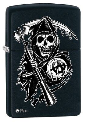 Zippo Lighter - Sons of Anarchy Grim Reaper Biker Black Matte