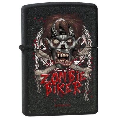 Zippo Lighter - Zombie Biker Black Crackle