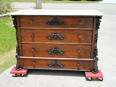 Rosewood Victorian Marble Top Four Drawer Chest circa 1860