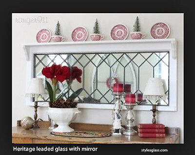 "Mirror Leaded Glass  Heritage design 14 x 30"" handcrafted WE make all sizes"