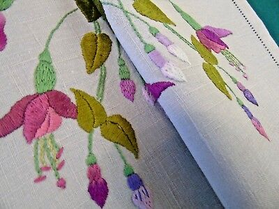 Beautiful Fuschias,Vintage Hand Embroidered Table/Dresser/Tray Mat 34cm x 48cm