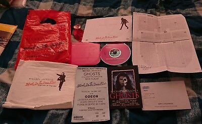 michael jackson ghost premier gift set ticket, balloon, badge, cd, napkin rare