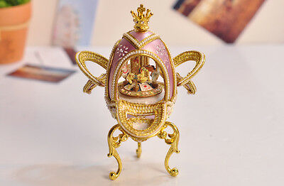 "* Purple Creative Carousel Egg Carving ""Carousel Waltz"" Music Box Birthday Gift"