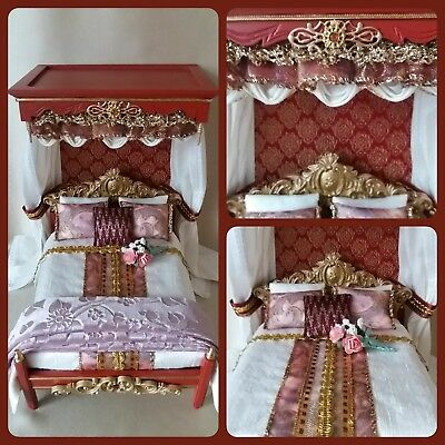 Dolls house 12th/1:12 scale Bed/Tester Bed/Canopy Bed~ designed by Eva
