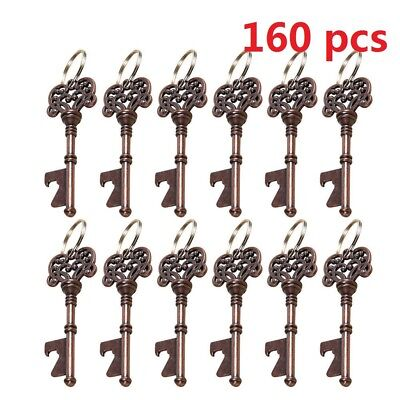 160pcs Vintage Metal Skeleton Key Shape Beer Bottle Opener Bridal Wedding Favor